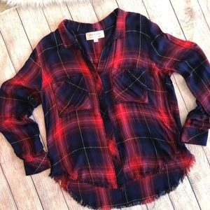 Cloth and Stone Anthro plaid soft shirt red/blue